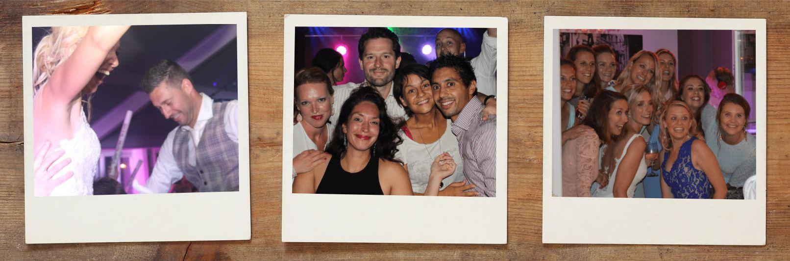 Polaroid fotograaf op feest