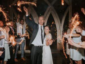 Wedding fireworks display with sparklers 1